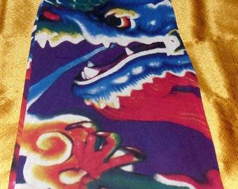 Vintage Fierce Dragon Maxi Skirt in Nylon Stretch Mesh fabric