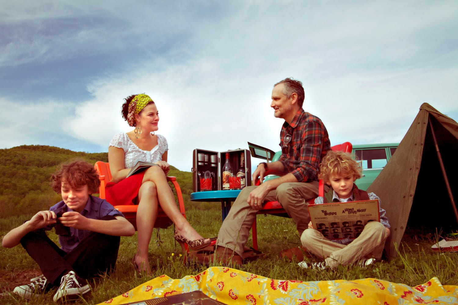 Fine Art Photography Vintage Family Camping Retro Image