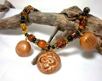 Clearance,  Necklace, Tribal Look,  Autumn,  Amber and Gold, Three Polymer Clay Focals, Unique Look