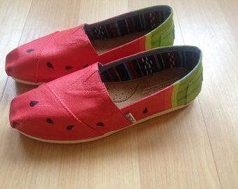 Sweet Feet: Watermelon Hand Painted Shoes TOMS, flats