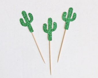 Cactus Cupcake Toppers-Cacti-Coco-Birthday-Donut Toppers-Decorations-Fiesta-Cinco de Mayo-Summer-Party-Tropical-Palm Springs-Desert