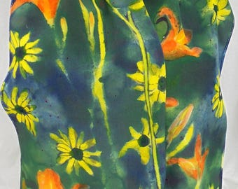 silk scarf crepe Twilight Wild Flowers long hand painted unique wearable art women fashion daylily black eyed susan