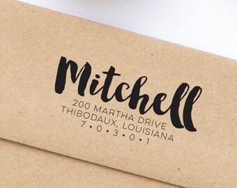 Return Address Stamp, Brush Script Address Stamp, Wood Mounted or Self-Inking Rubber Address Stamp, Wedding Invitation Stamp, Style No. 98
