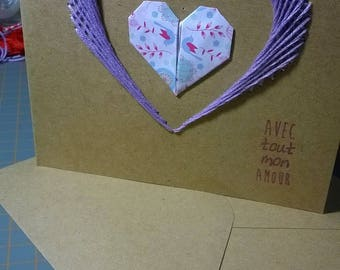 Embroidered heart origami card