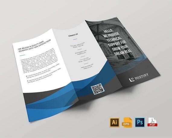 Unternehmen Tri-Fold Broschüre Designvorlage stationär in EPS