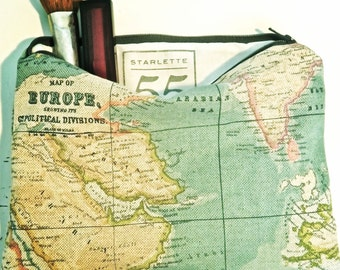 Map Print Pouch, Makeup Pouch, Pencil Case