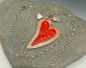 Valentines Heart Necklace Red Cupids Arrow Mixed Metals Sterling Silver Copper Fine Silver Gifts for Her