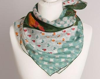 "vintage Square scarf, silk scarf, fabric women scarf shawl 73cm / 29"" floral poppies scarf green orange"