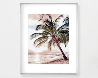 Modern Beach, Wall Art Print, Palm Tree Print, Printable Art, Instant Download, Beach Print, Watercolor Print, Coastal Beach, Beach Art