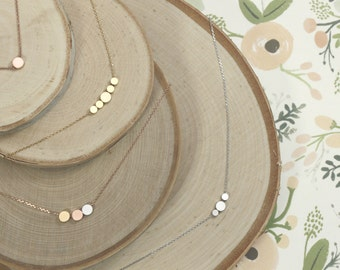 Tiny Disc Necklace | Minimalist | Layering | Tiny | Dainty | Mother's Necklace | Mother Daughter | Mommy and Me | Family| Mothers Day Gift
