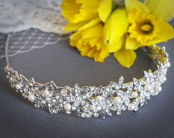 ELAINE, Crystal Bridal Headband, Swarovski Pearl & Rhinestone Wedding Hairband, Art Deco Wedding Hair Accessories, Flower and Leaf Headband