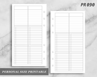 Personal Size Printable 2Do1P Daily Category Task Column Wo4 Wo4P Digital Download PR090