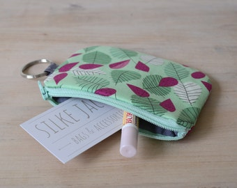 Mini Wallet in Strawberry - Pouch with Key Ring