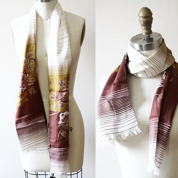 1970s long neck scarf // vintage neck scarf // striped scarf