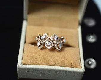 Natural diamond zig zag engagement ring