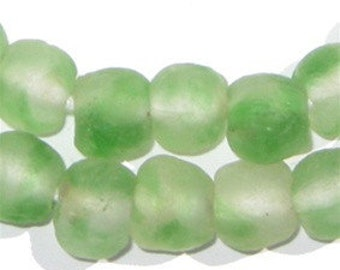 45 Recycled Glass Beads 14mm - African Krobo Beads - Handmade Glass Bead - Ethnic Glass Beads - Powder Glass Beads (RCY-RND-GRN-545)