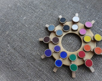Wooden color wheel, color matching game, Montessori preschool activity, Busy Bag, Toddler gift, Waldorf toy