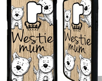 Westie mum dog west highland terrier quote phrase cartoon rubber protective cover for samsung galaxy s5 s6 s7 s8 s9 plus edge phone case