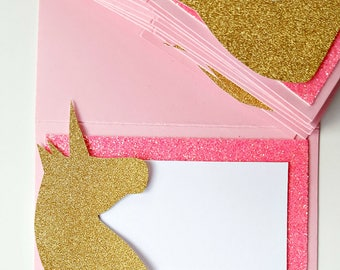 Unicorn Food & Beverage Labels . Unicorn Party Labels . Glitter Unicorn Party Labels . Glitter Unicorn Place Card . Pink and Gold . Set of 9