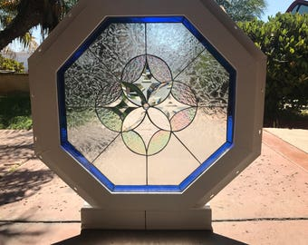 """Vinyl Framed and Tempered Glass Insulated!!   The """"Hermosa""""  Octagon Stained Glass & Beveled Window  (We do custom work and sizing)"""