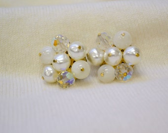 1960s Pearl and Crystal Cluster Clip Earrings