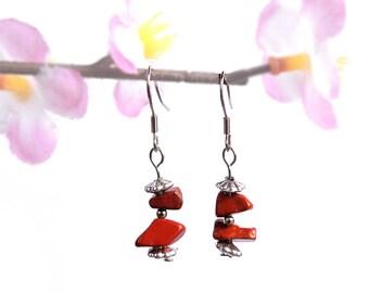 Red jasper earrings, natural gemstone jewelry, handmade earrings, red jasper earring natural gemstone earring red earring silver earring fyc