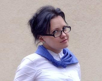 Blue Bandana Scarf Kerchief Headband. Royal Blue Kerchief. Linen Kerchief