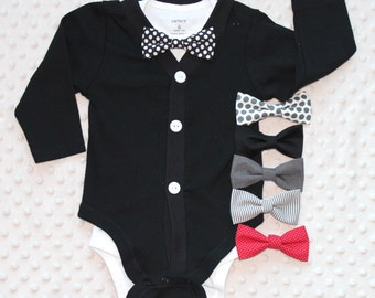 Baby Boy Cardigan Bow Tie Set, Baby Tuxedo, Baby Bow Tie Outfit, Baby Boy Clothes, Baby Boy Suit, Wedding Outfit