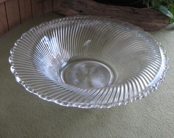 Vintage Swirl Coffee Table Bowl Diana Pattern Federal Glass Co. Depression Glass 1937-1941 Centerpiece or Fruit Low Console Bowls