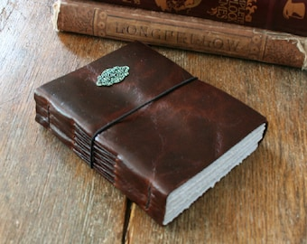"""Leather Journal . Vincent Van Gogh: """"The sight of the stars makes me dream"""" - Cafe Terrace art print . rustic. handmade handbound (320pgs)"""