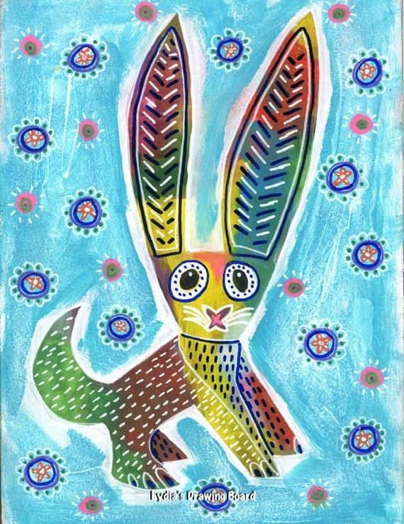 Rabbit, Rabbit Art, Rabbit Art Print, Bunny Art, Bunny Art Print, Mexican Art, Mexican Folk Art, Animal Art, Animal Artwork, Animal Prints
