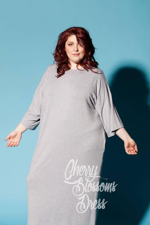 Grey Maxi Dress Plus Size Maxi Dress Plus Size Kaftan Plus