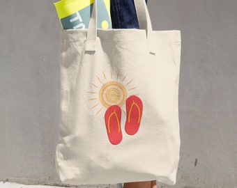 Summer tote bag, Summery market bag, Cloth shopping bag, flip flops and sun, Beach bag
