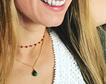 Emerald teardrop stone necklace. Genuine emerald necklace.  18k gold filled chain.  Dainty necklace for her.