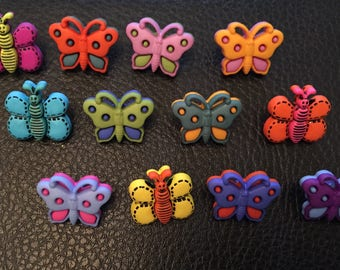 12 wooden butterfly buttons