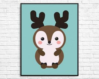 Deer Print, Woodland Nursery Decor, Woodland Animal Wall Art, Deer Printable, Instant Download Wall Art for Nursery or Kids Room
