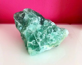 Large Green Fluorite, Rainbow Fluorite, Raw Fluorite Stone /  Healing Crystals and Stones