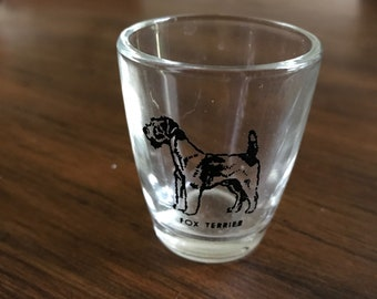 Vintage shot glass with Fox Terrier