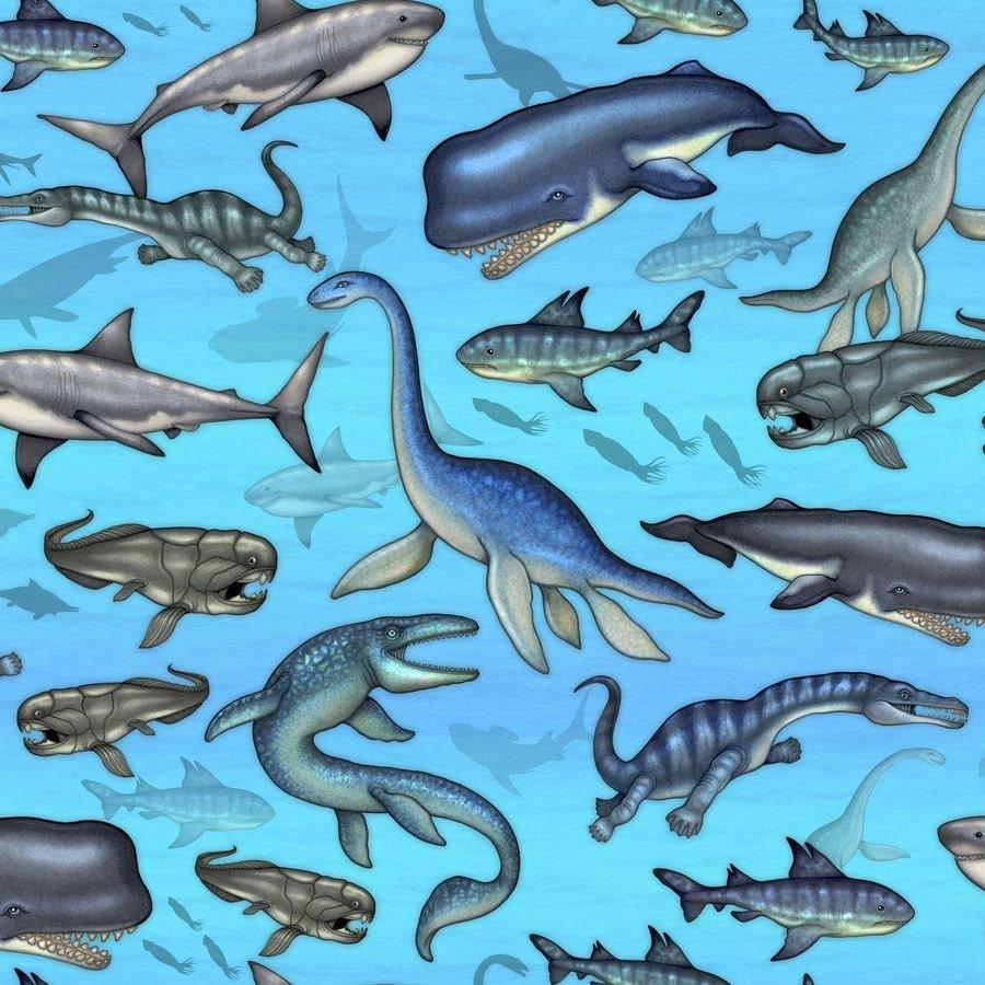 Dinosaur Fabric Jurassic Jungle Aqua Undersea Dinosaurs