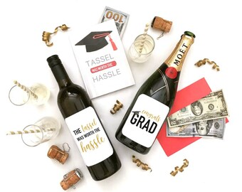 Graduation Tassel Worth the Hassle 2PACK wine champagne labels