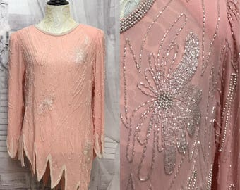 80s Jack Bryan Blush Pink Bead Pearl Formal Blouse Size 8