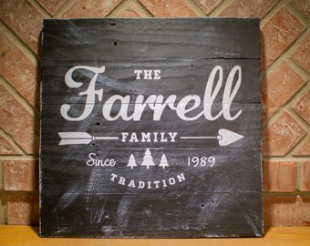 Established Family Home Decor Sign | Reclaimed Wood Family Name Sign |  Personalized Name Sign |