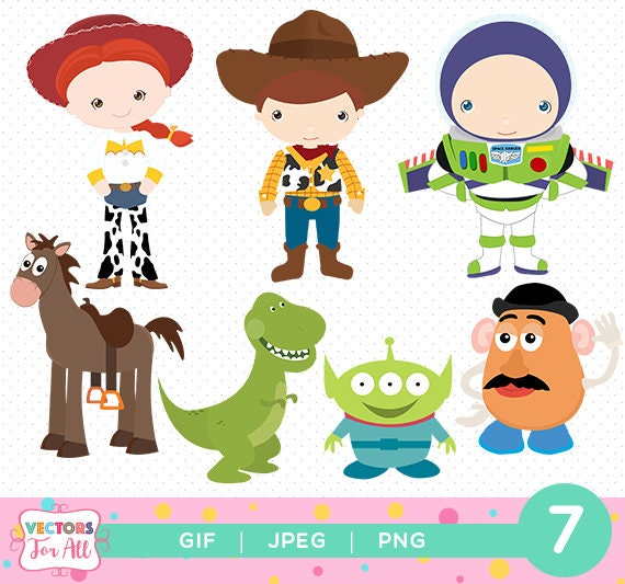 toy story cliparts pack toy story gif png jpg files disney rh etsy com woody toy story clipart toy story clipart alphabet
