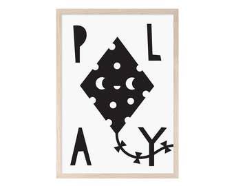 PLAY (black and white) children printable sheet, children decoration, children's room, poster children, illustration, children