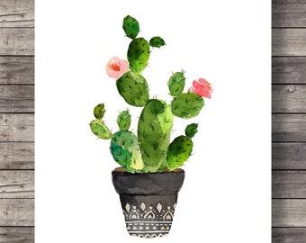 Cacti art print Printable art Watercolor cactus painting watercolor botanical decor Printable wall art watercolor cacti art, house plant
