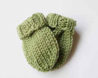 Olive Green Baby Mittens in Size 3 to 6 Months, Hand Knit Infant No Thumb Mitts, Warm Winter Clothes, Handmade Boy or Girl Baby Shower Gift