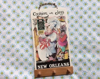 Creole Key Hook Cooking With Jazz New Orlean Louisiana Usa Wall Hanging Rack 90s Wooden