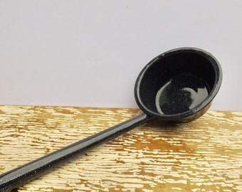 "Black speckled enamel soup ladle,enamel scoop,large ladle,graniteware,kitchen utensil,enamelware,13"" soup ladle,rustic,farmhouse"