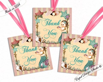 Mermaid baby shower tags/mermaid baby shower thank you tags/Mermaid favor tags/mermaid party favors tags/Mermaid labels/Printable/Printed.