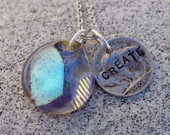 Dichroic Glass Pendant Boro Lampwork Stamped Coin Necklace - Create